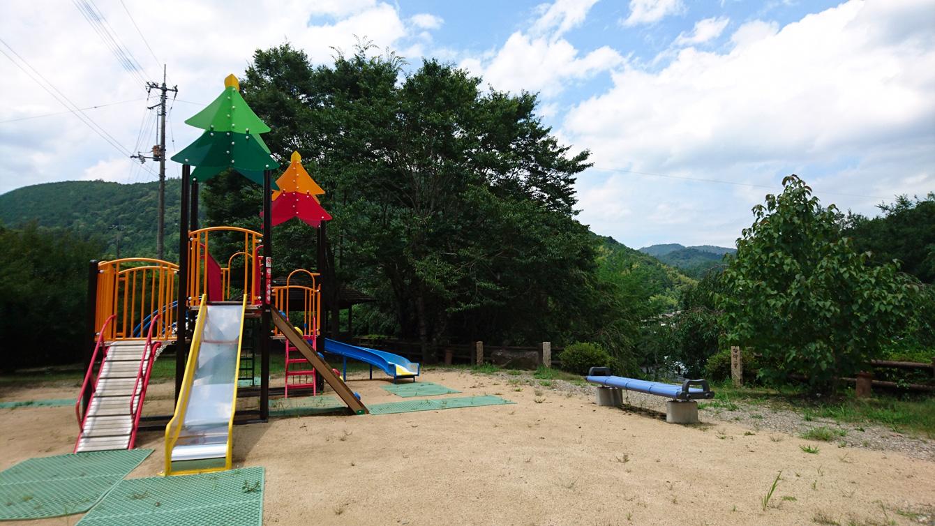 The park area near the Kamiyama Onsen. Children can run around there.