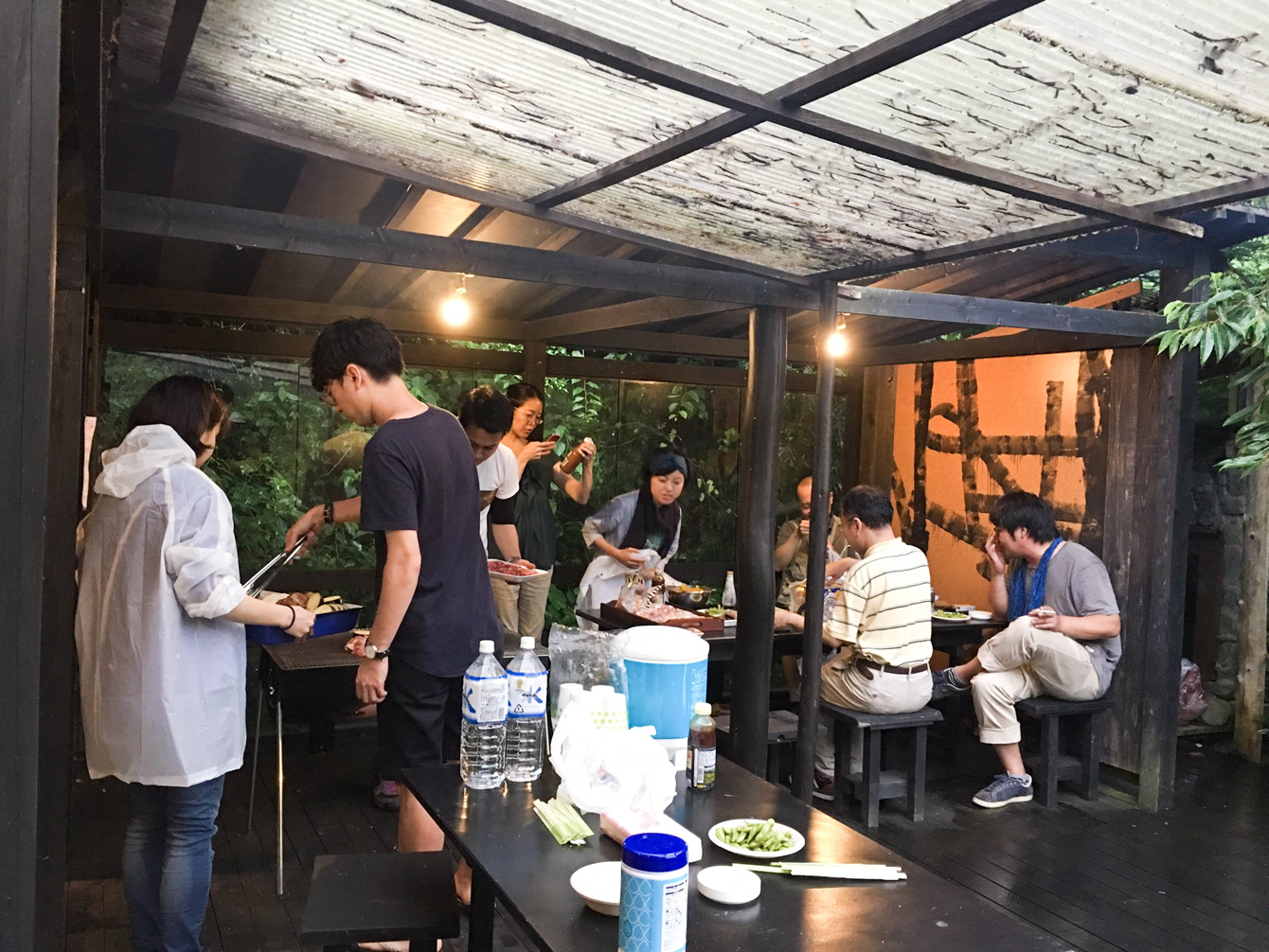 A barbeque party at the wood deck. Kamiyama people often eat grilled venison.