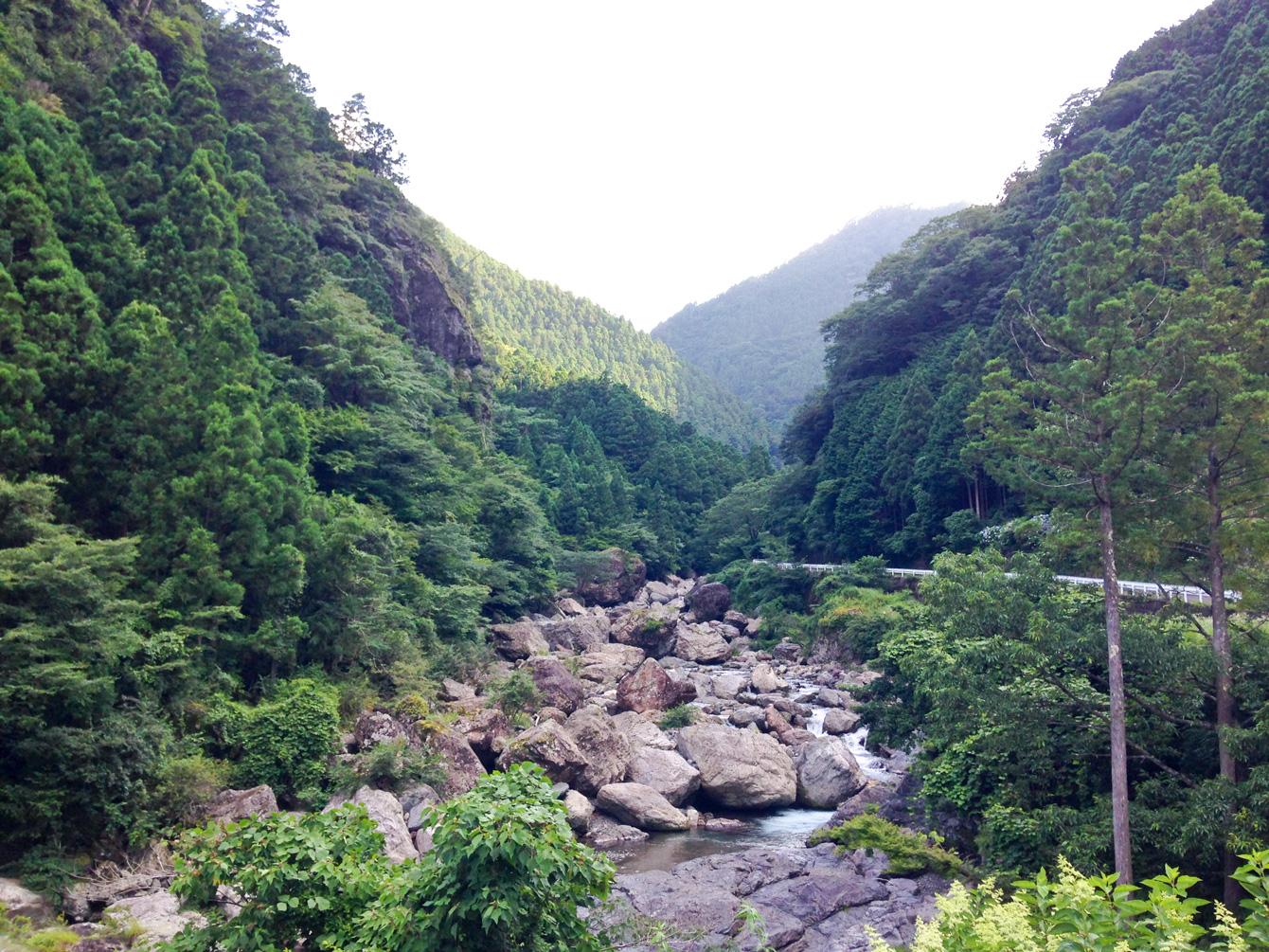 はくやんの家のすぐ横を流れる川。寝る時には、川の音に耳が慣れるまで眠れないほど近い。