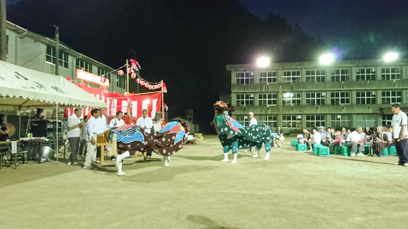 阿川地域の獅子舞は、本来は4頭で舞うとのこと。