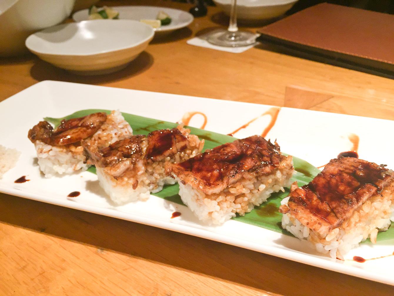十勝帯広名物・豚丼の押し寿司。