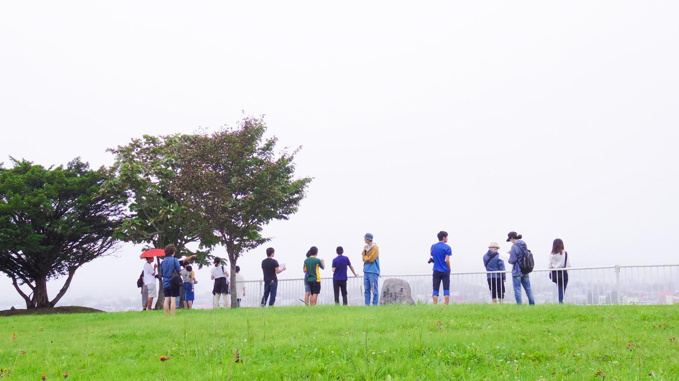 町中散策。浦幌町中心部が一望できる場所。