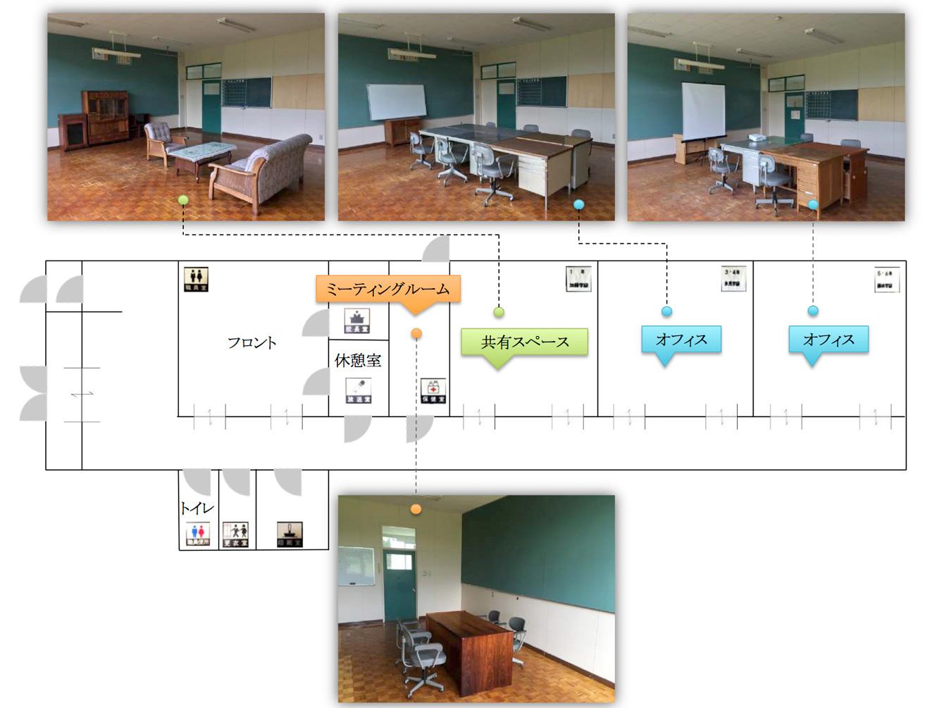 サテライトオフィス(旧常室小学校)室内案内図。