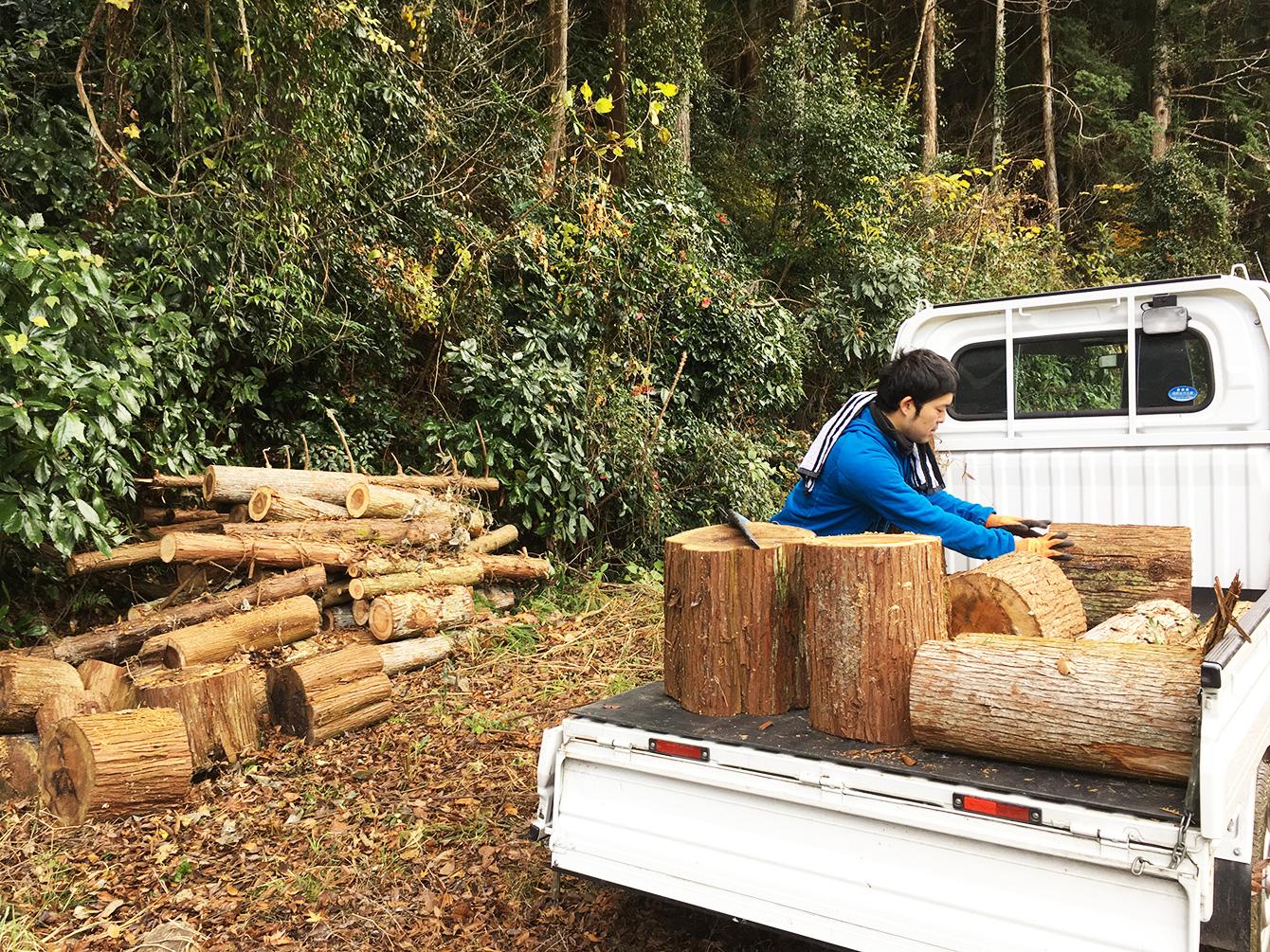 山姥の裏山にて、春先に切っておいた木を軽トラへ積む作業。