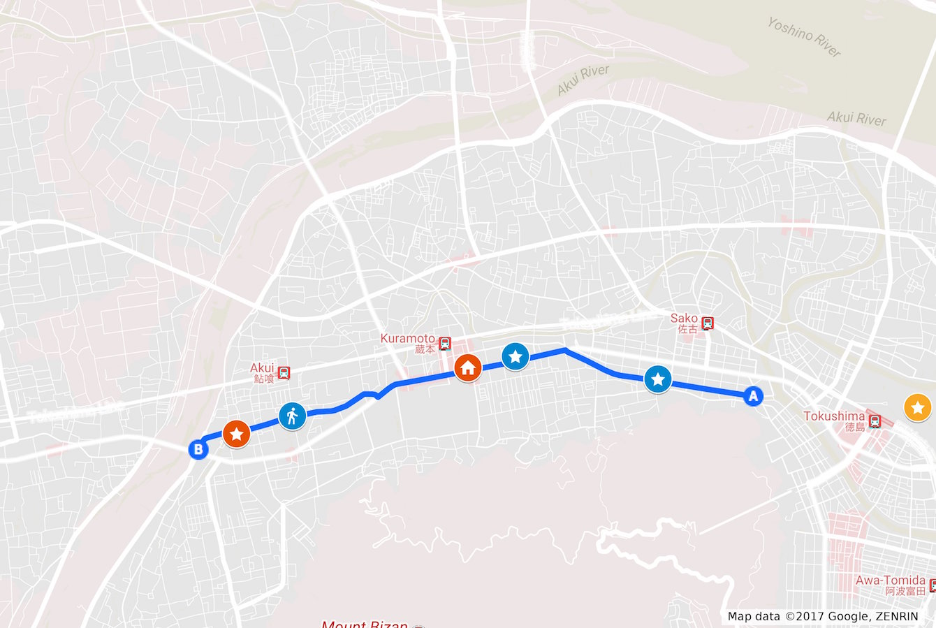 地図2 赤い☆マークはかまだ文具店さん。家マークは蔵本BASE。青い☆マークは前回記事で訪れたお酢屋さんと酒醸造屋さん。オレンジの☆マークは徳島城跡。